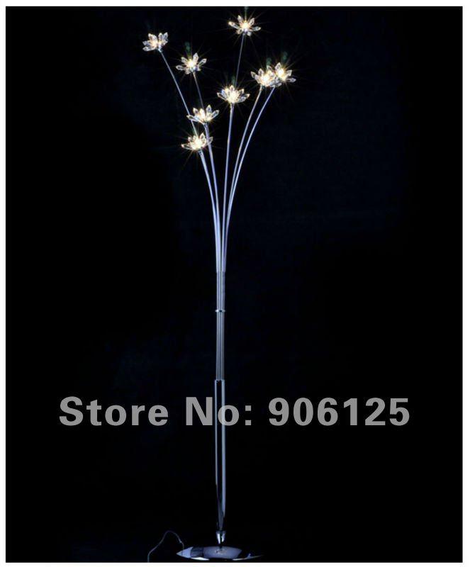 Modern Crystal Floor Lamp Chrome Floor Lamp Crystal Flower Floor Lamp Used in Living Room Guaranteed 100%+Free shipping!(China (Mainland))