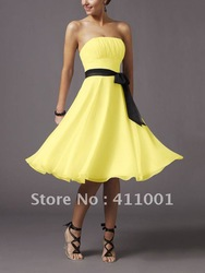 Yellow Strapless Short A-line Junior Prom Cocktail Party Homecoming Dress Summer Dress All Sizes in stock Ready to ship(China (Mainland))