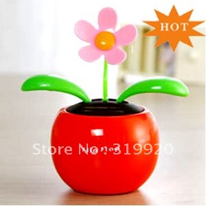 Solar Powered Flip Flap Flower Cool Car Dancing Toy 5colors  Free shipping 10pcs