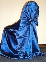 Free shipping / top quality  navy blue self-tie satin chair cover/pillow case satin chair cover