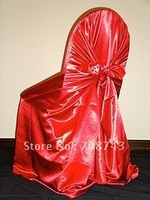 Free shipping / top quality  orange self-tie satin chair cover/pillow case satin chair cover