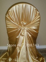 Free shipping / top quality  gold self-tie satin chair cover/pillow case satin chair cover