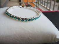 green Row Rhinestone Stretch Bangle Bracelet Wedding Party Bridal Jewelry free shipping