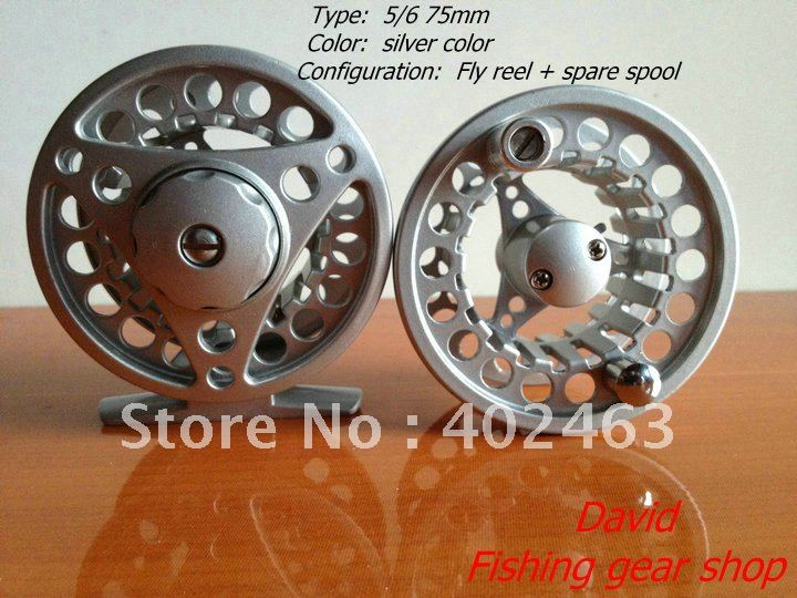 Fishing Fly Reels 5/6 75mm Silver Aluminum Die Casting 2 Precision bearing+One-way bear set (set=1pcs reel+1pcs spare spools )(China (Mainland))