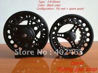 Fishing Fly Reels 7/8 85mm Black  Aluminum Die Casting 2 Precision bearing+One-way bear set (set=1pcs reel+1pcs spare spools )