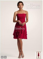 Wholesale - NEW!! ! Strapless Chiffon Dress with Layered  Style F14169 lace -up or zipper closure