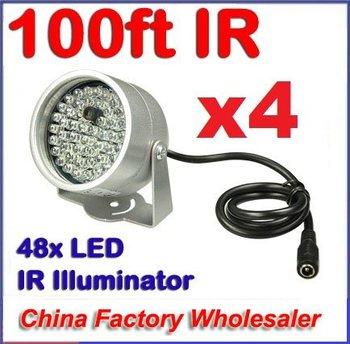 (4) 48 LED illuminator light CCTV Security Camera IR Infrared Night Vision Lamp