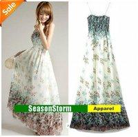 [EMS Free Shipping] Wholesale Womens Bohemia Sundress Chiffon Skirt / Lace Flower Prom Dresses 3 Color (SU-18E)