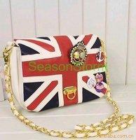 [EMS Free Shipping] Wholesale 2012 London Olympic Navy British Flag Style Fashion Chain Handbag 4 Colors 16pcs/lot (SO-07E)