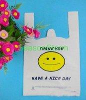 [EMS Free Shipping] Wholesale 20*32cm White Smile Face Vest Handle Plastic Bag / Shopping Bag (SD-139E)