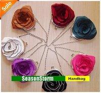 [EMS Free Shipping] Wholesale Fashion Womens Camellia Flower Zero Purse / Mixed Color Rose Evening Bags (SG-67E)