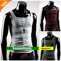 [EMS Free Shipping] Wholesale Mens  Classic Cotton Slim Vest / Solid Color Men's Tank Top (SU-04E)