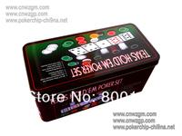 poker chip set in  iron box