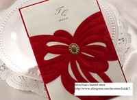 Top rated  100pcs/lot hollow out bowknot invitation card wedding red