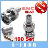 100pcs BNC Male 3-piece RG 59 COAXIAL Crimp Cable CCTV,free shipping