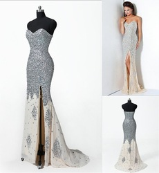 2012 New ! Real sample Sweetheart Sparkle Beads Chiffon Long Split Ball Evening Gowns Prom Dresses Designer(China (Mainland))