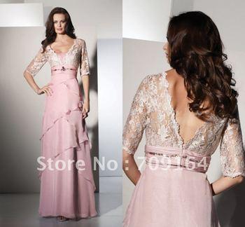 FM206 Fashion Lace Jacket Half Sleeve V Neck Pink Chiffon  Mother Of The Bride Dresses