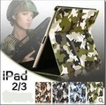 Camouflage pattern Leather case for ipad 3 / 2 military style CS cover for new with wake up and sleep model hard case for ipad 2