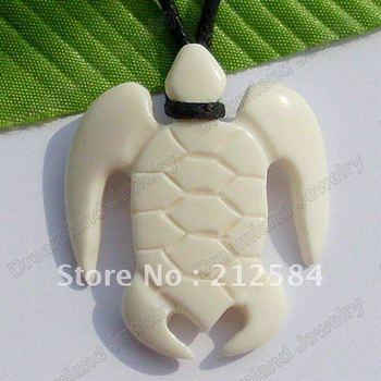 Free Shipping Wholesale 5pcs/Lots Hawaii Tribal Surfer Style Jewelry Handmade Carved Ox Bone SEA TURTLE Pendant Necklace/Choker