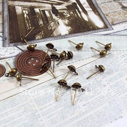 1000pcs/lot Vintage Antique Brass 5mm Jewelry Finding Dangle Stud Earrings Free Shipping CXY004(China (Mainland))
