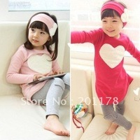 S315# shipment 5sets/lot child clothing suit headwear+long tops+leggings 3pcs/set wholesales