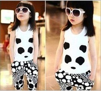 Best selling 2012 New Arrivals  girl summer clothes,Fashion Lovely panda clothing/sets,Kid suit,Wholesale Free shipping 4 sets