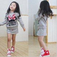 Free shipping!5sets/lot children girls clothing set 2pcs:Mickey hoodies t-shirt +dress skirt girl wear kids autumn clothes