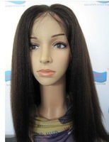 "100% Indian Remy Human Hair Lace Wig Kinky Straight #1b Natural Black Front Lace Wig Baby Hair On sale Wholesale Best 8""-24"""
