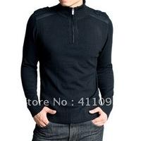Free Shipping 1pc 100% Cotton Fashion Turtleneck  Men's long Sleeve Brand Sweater black,DK Grey M-XXL Wholesale and Retail