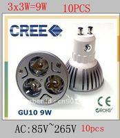 10pcs/Lot replace 50w Free Shipping 3X3W 9W GU10 16 CREE LED led light bulbs Downlight AC:85V~265