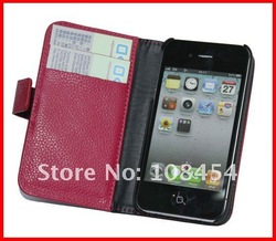 For iPhone 4G 4S Wallet case Real leather;Newest Real Leather Wallet Case For Iphone 4G 4S;Free Shipping 20pcs/lot(China (Mainland))