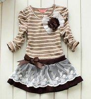 Wholesale 5 set/lot new 2012 spring girls princess dress, Fashion Bowknot stripe kids dress (for 3~8 years) free shipping