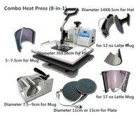 New 8in1 combo Heat Press machine Multiuse Heat Transfer Machines For T-shirt Mug Cap Plate Fast Express Shipping