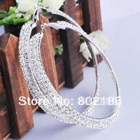 Ювелирный набор Fashion Purple Acrylic Rhinestone Necklace Earrings Jewelry Set, White Gold Plating .Opp Card Packing