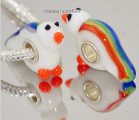 free shipping 50pcs Handmade Animal beads 925 SILVER MURANO GLASS Diy BEAD LAMPWORK fish fit European Charms Bracelet D148