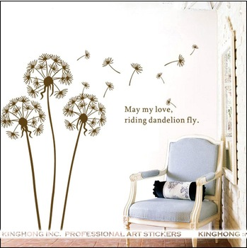 Eco-friendly Dandelion wall covering 150cm*160cm PVC wall paper house home windows adhesive wall stickers(WALL-STICKER-05)