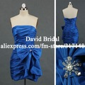 Real Sample DE089 Pleated Strapless Sheath Blue Cocktail Dress 2012