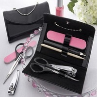 "FREE SHIPPING+Wedding Favors ""Little Black Purse"" Patent-Leather Five-Piece Manicure Set  +100pcs / lot(RWF-0051P)"