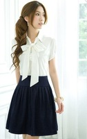 2014 new arrival lady fashion bow style retro slim summer student dress free shipping/promotion