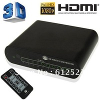 Free Shipping HDMI 2D to 3D Converter Multi-Media Player Box + 3D Glasses with Retail Package Full HD 1080P Remote Control