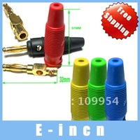 50pcs Silicone 5 Color Gilt Banana Plug FOR BINDING POST.free shipping