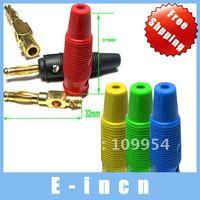 50pcs Silicone 5 Color Gilt Banana Plug FOR BINDING POST.free shipping