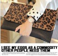 HOT Lady Leopard Faux Leather Cluth Bag,Women Horse Hair Clutch Shoulder Purse Handbag Envelope Evening Bag,Free Shipping EB160