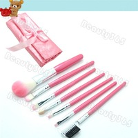 7pcs Makeup Brush Set Kit With Roll Up Pink Bag Case Eyeshadow Cosmetic Brush Free Shipping 4239