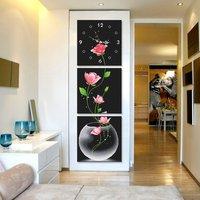 Triptych Elegant Flower Unfinished Pure Hand Made Chinese Cross Stitch Set Wall Clock Diy Cross Stitch Kits + Free Shipping