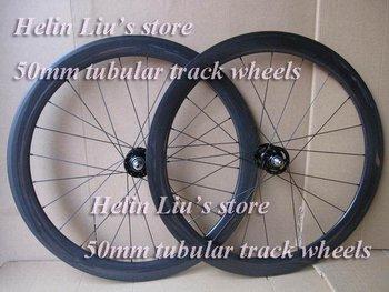 Wholesale best price 100% carbon fixed gear bike wheels,50mm tubular 3K carbon track wheels