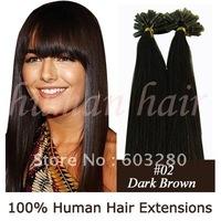 "20""24""26"" human remy Natural hair extension #02 Dark brown color 100gram Keratin U tip hair"