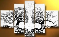 Framed Hand-painted 5 piece canvas art  black white abstract tree lovers Oil Painting home decoration/Free shipping/sa-565