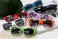 5 pcs/Lot, Free Shipping  Wholesale Fashion Hot Selling Glasses Colourful Sunglasses 12 Colour