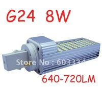 Hot-selling LED G24 Bulb Lamp Lighting 85~265V 8W White living room bedroom highway garden square 72SMD 3014 Epistar LED Bulb